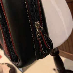 Lodis Bags - LODIS Black Leather Red Piping Computer Tote